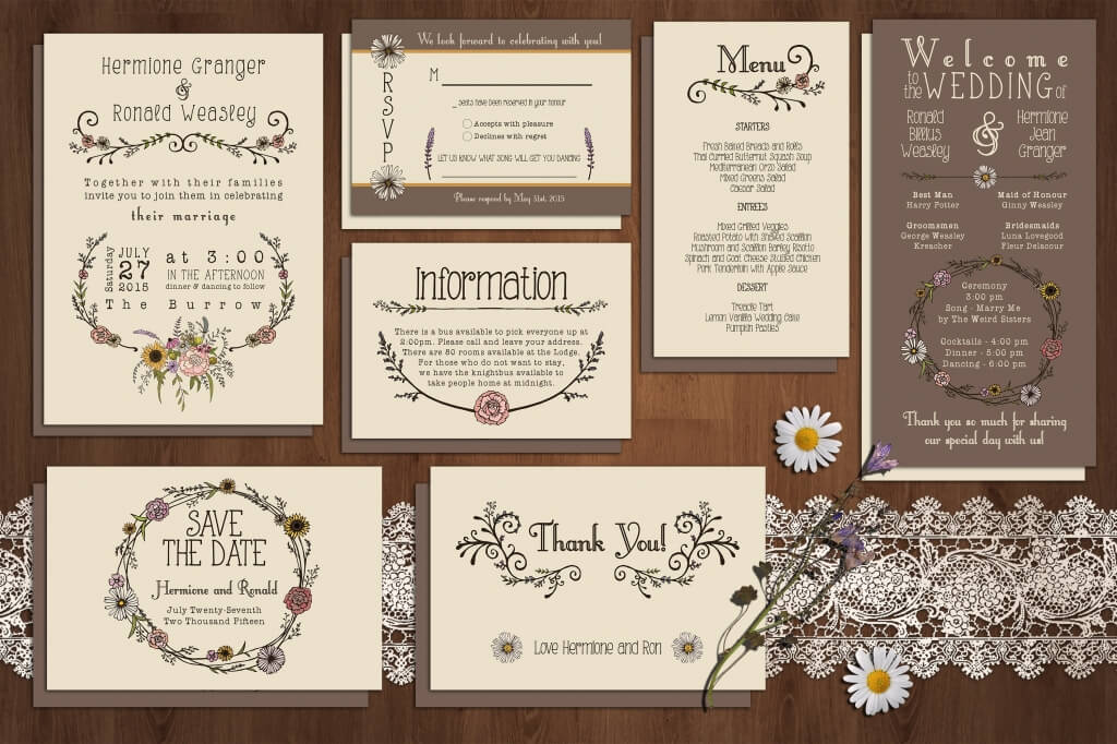 Wildflower Wedding Invitation Suite  Free Wedding Invitation Card Templates