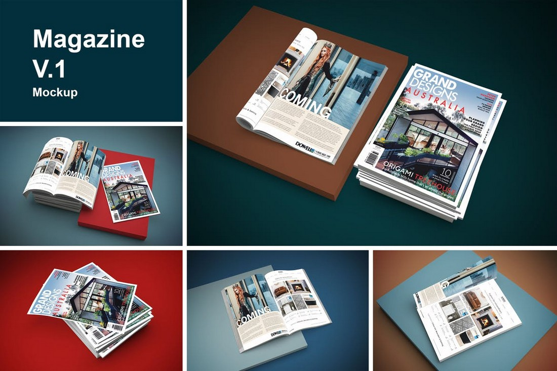multiple Magazine Mockup