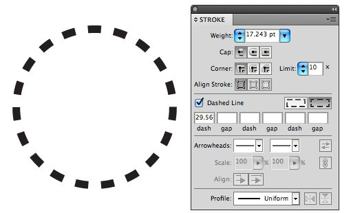 how to make a circle dotted line in illustrator cc