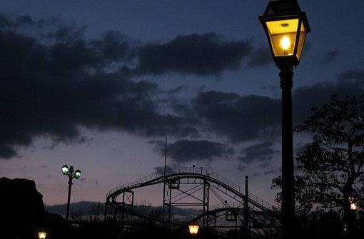 street lights in Japan roller coaster theme park