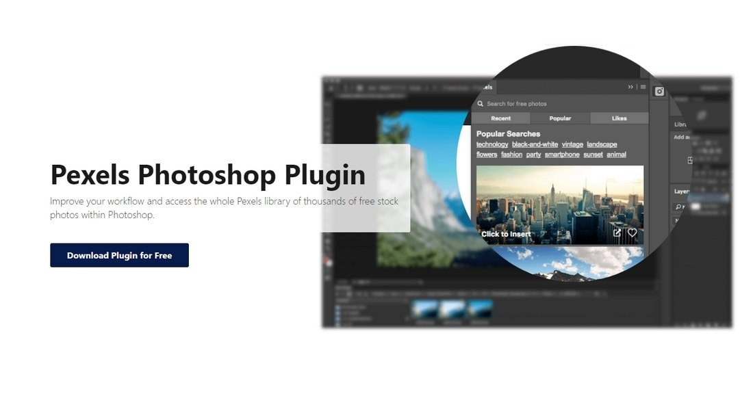 pexels photoshop plugin
