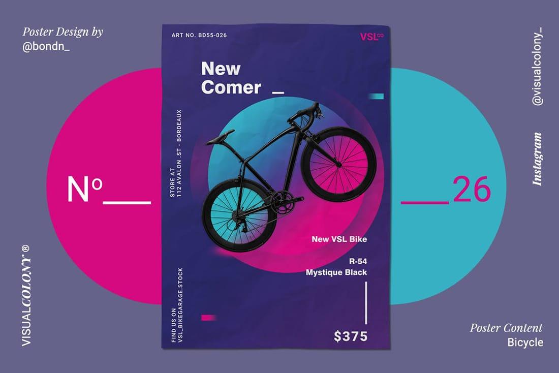 purple-bike-poster 20 Stylish Poster Color Schemes design tips