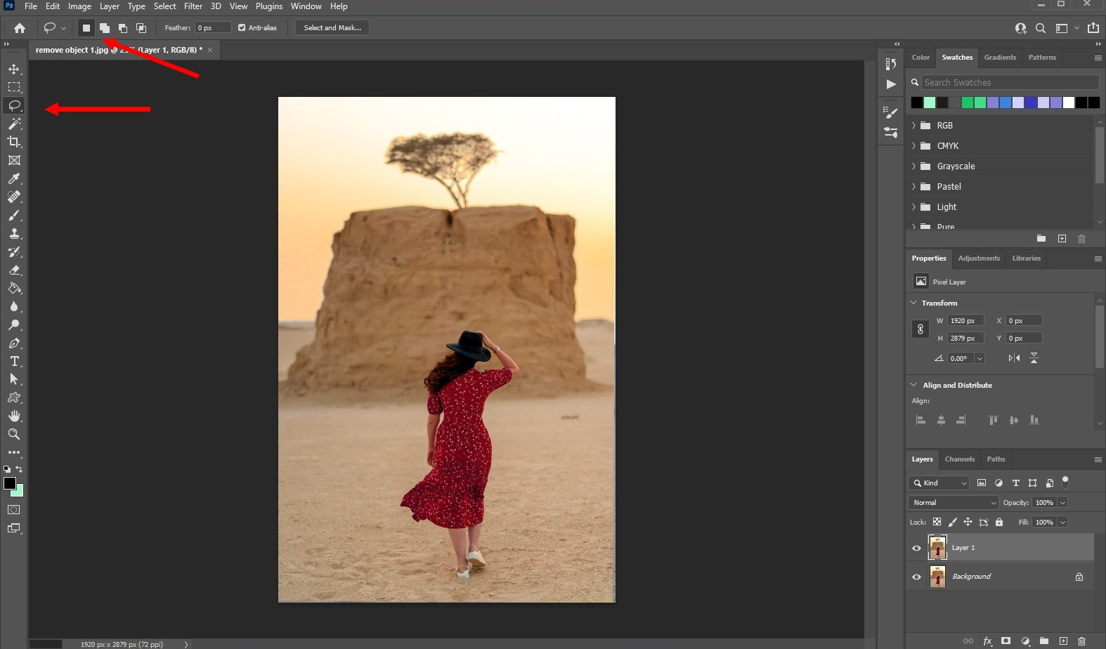 remove an object in photoshop - using fill - 1