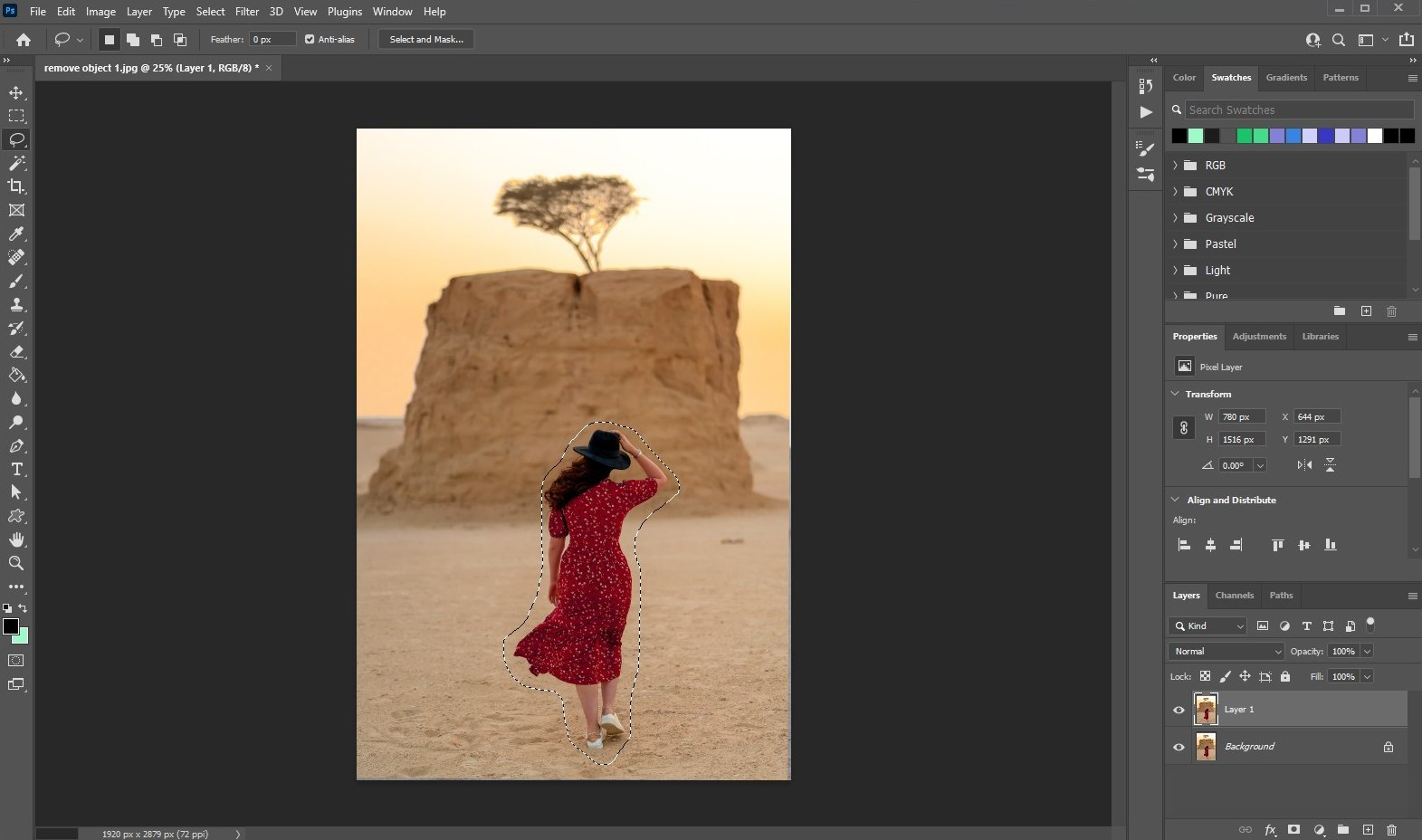 remove an object in photoshop - using fill - 2