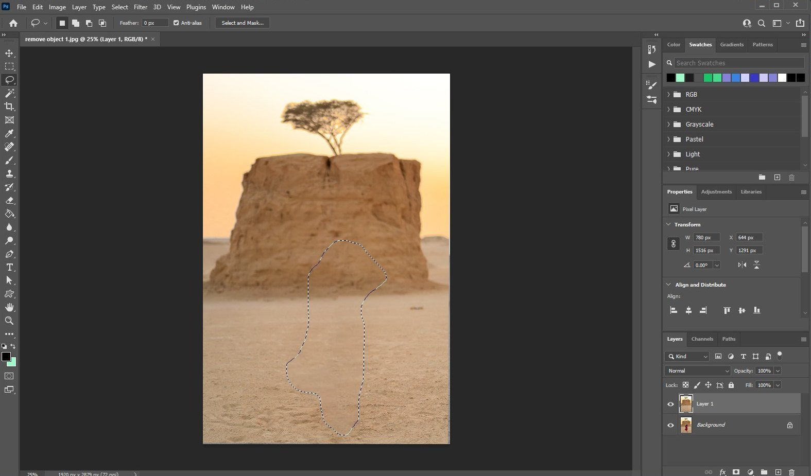 remove an object in photoshop - using fill - 4