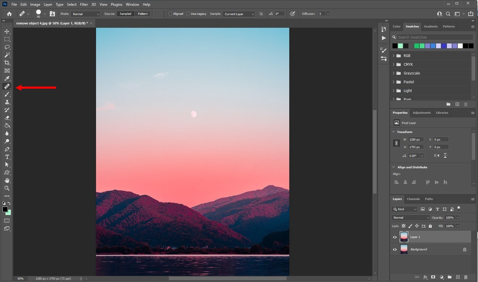 remove an object in photoshop - using healing brush - 1