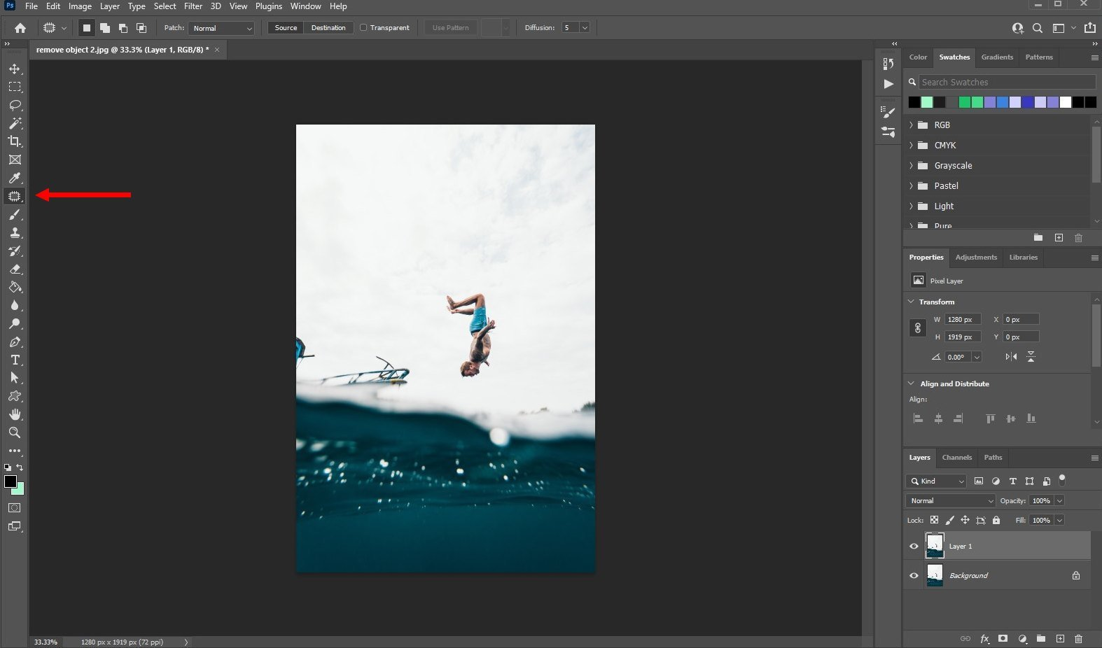 remove an object in photoshop - using patch tool - 1