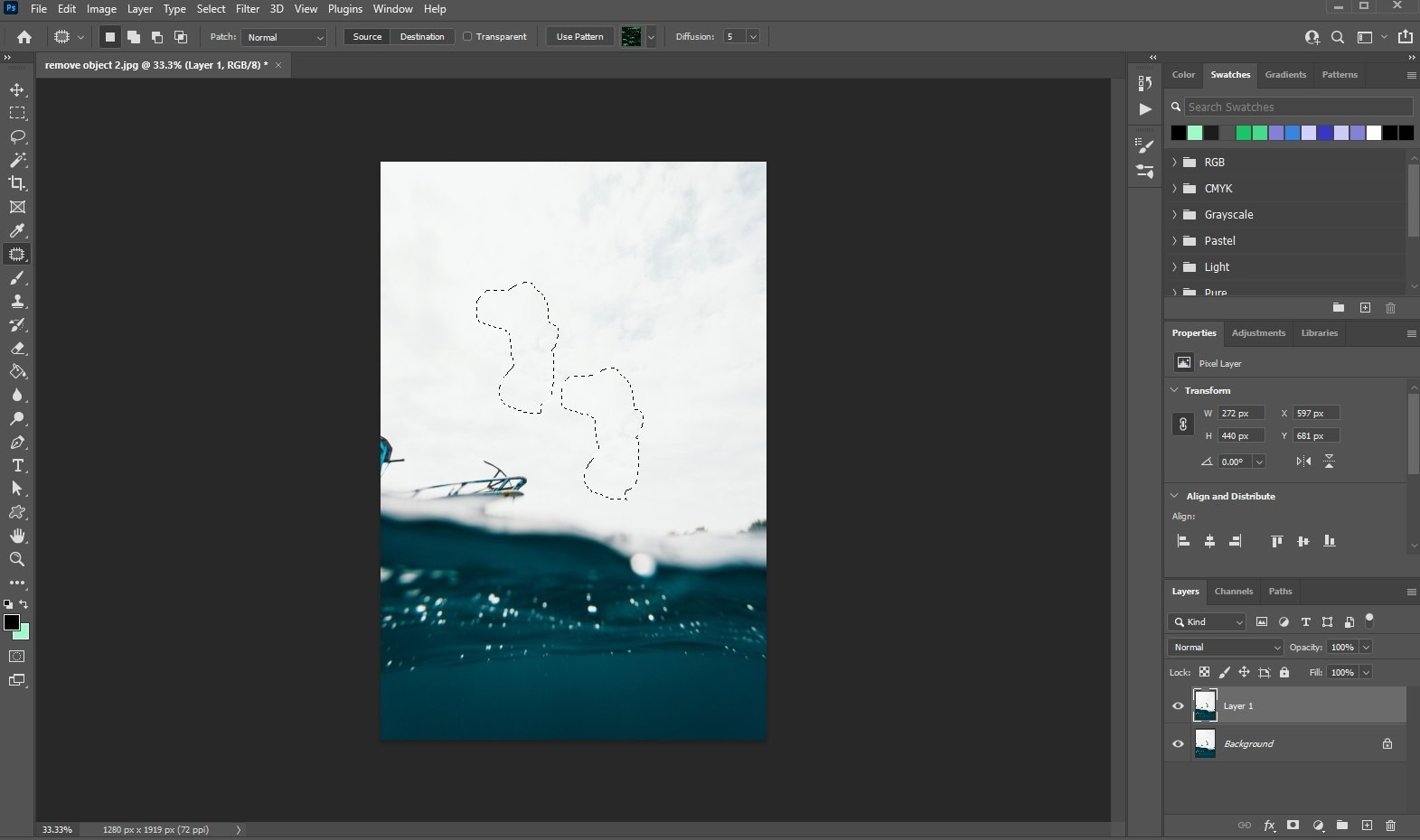 remove an object in photoshop - using patch tool - 2