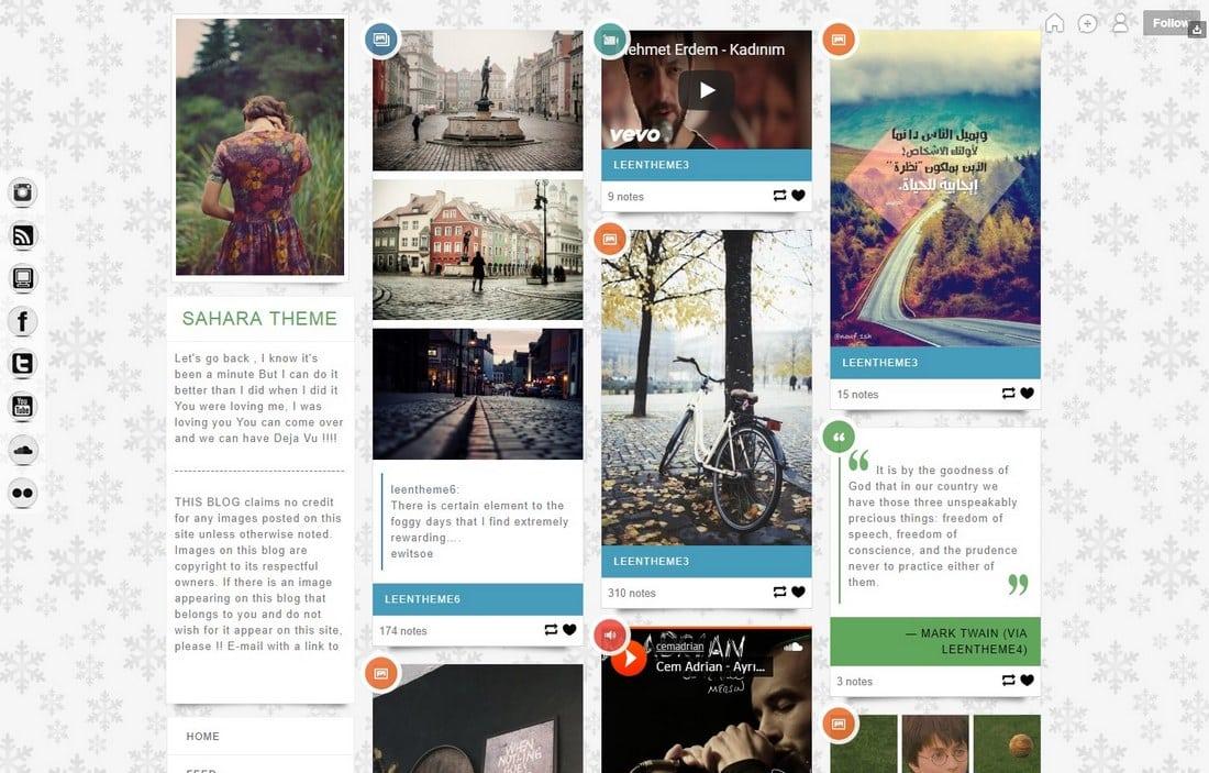 sahara-tumblr-theme 50+ Best Free & Premium Tumblr Themes 2018 design tips