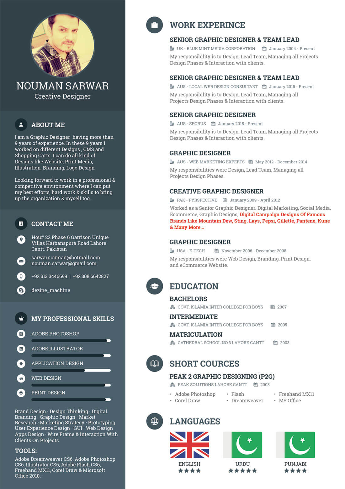 Freelance Resume  About Me Resume