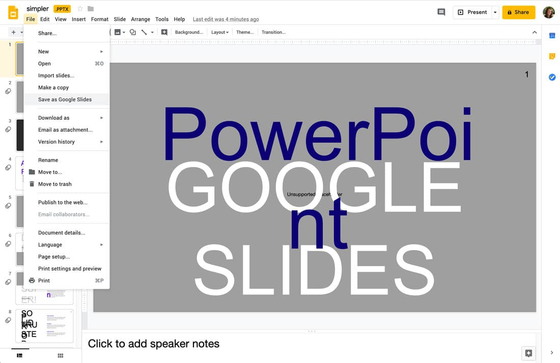 powerpoint to google slides
