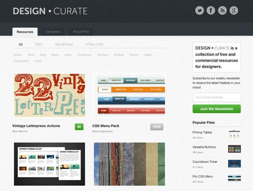 Screenshot in Announcing Design Curate: Freebies and Resources for Designers