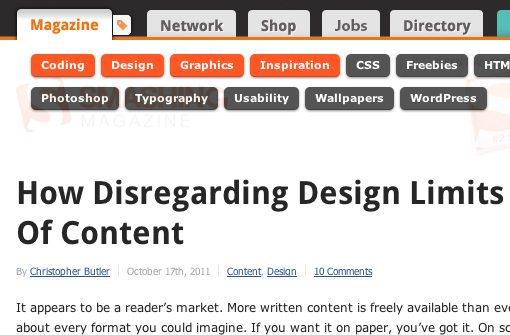 Smashing Magazine redesign homepage