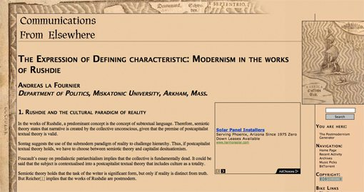 postmodern essay hoax Postmodernism and consumer society fredric jameson discusses image pastiche in terms of the new image-linguistics collection of essays on postmodernism and various examples thereof.