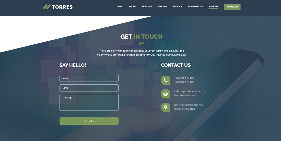torres-app-landing-contact 50+ Best App Landing Page Templates 2021 design tips