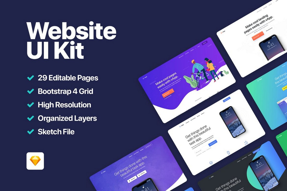 vApp - Website UI Kit Adobe XD Templates