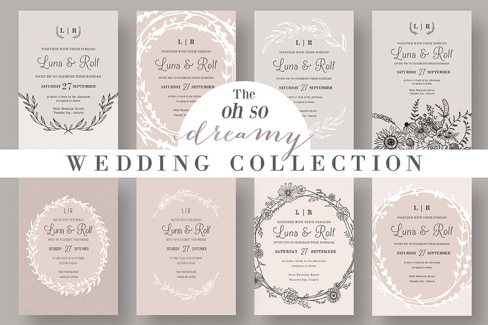 50 wonderful wedding invitation card design samples design shack vintage typography vintage wedding invitation stopboris Images