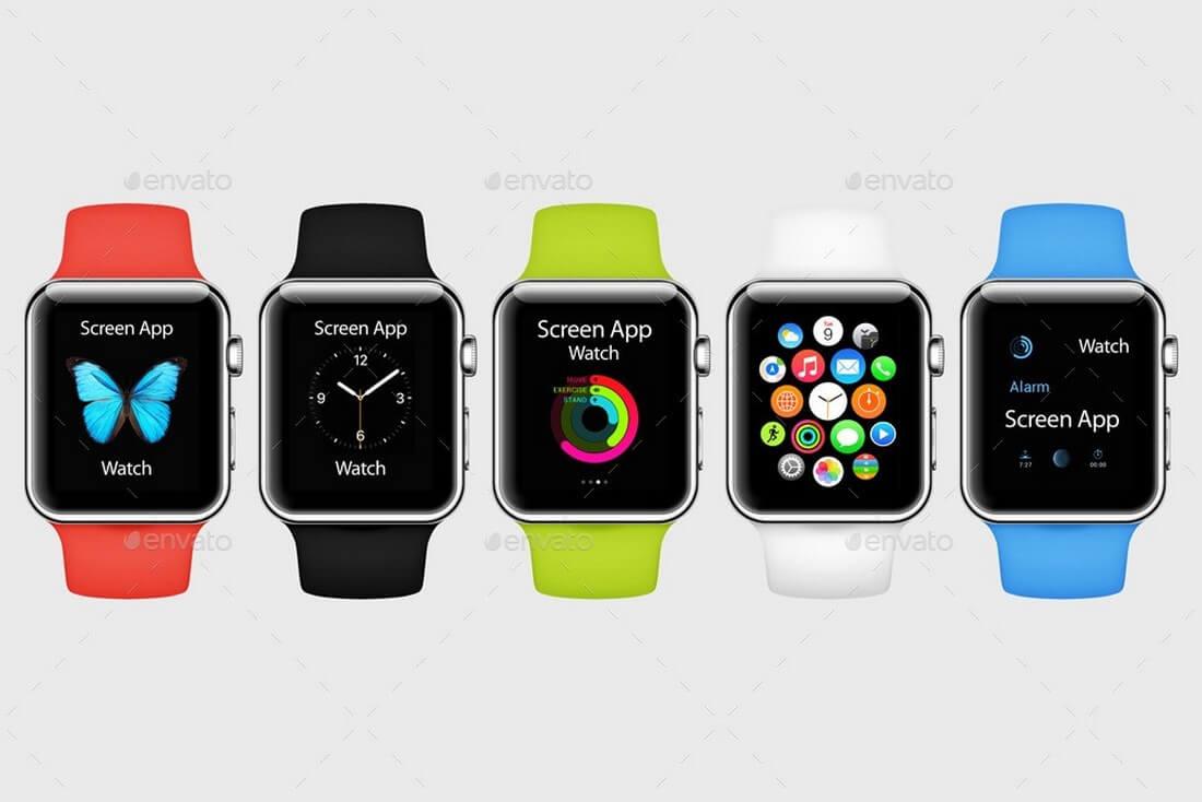 watch-mockups-graphic-river 50+ Apple Watch Mockups & Graphics design tips