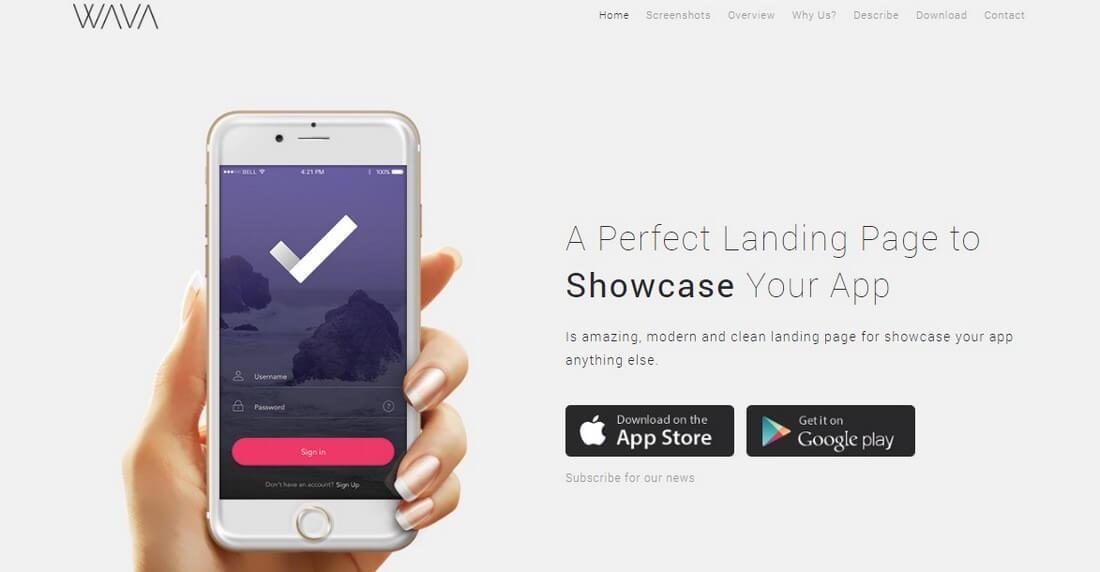 wava 30+ Clean & Minimal Landing Page Templates design tips
