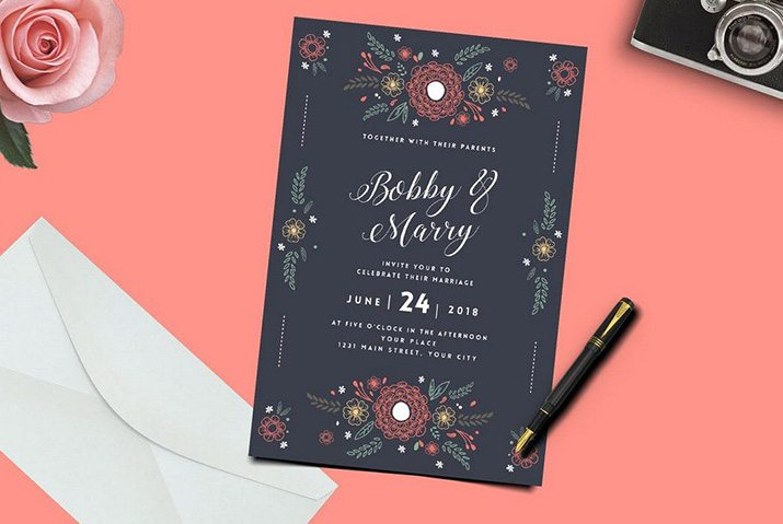 50 Wonderful Wedding Invitation Card Design Samples