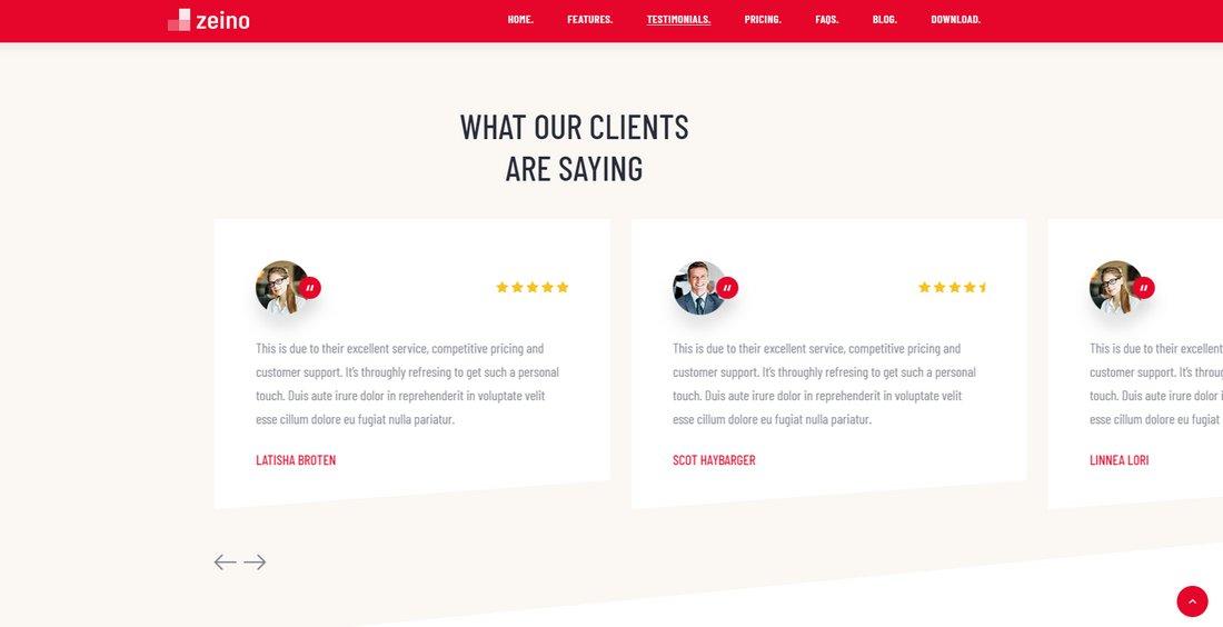zeino-landing-page-template-testimonial 50+ Best App Landing Page Templates 2021 design tips